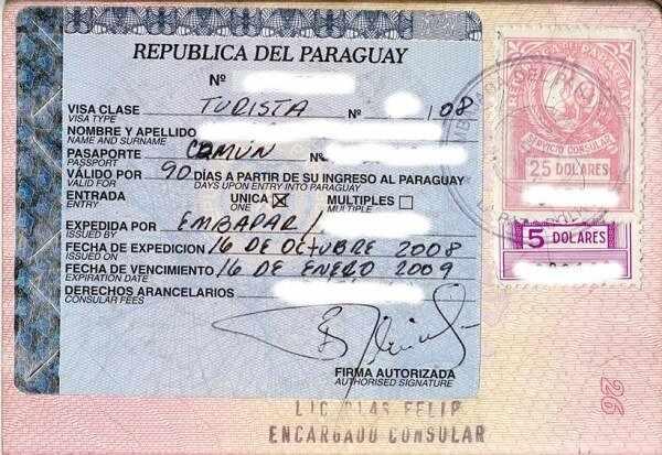 Документы для получения визы в посольстве Парагвая
