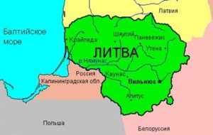 Калининградская область и литовская граница на карте