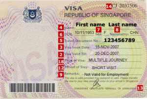 Так выглядит виза в Сингапур